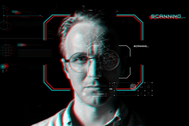 Человек в умных очках за технологией виртуального сканирования в эффекте сбоя