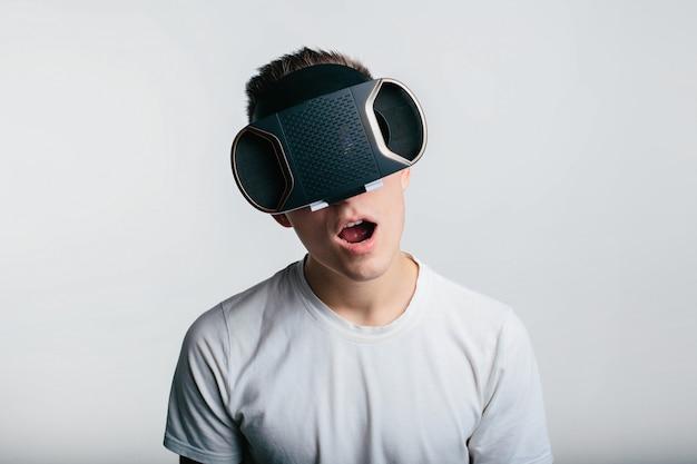 Man wearing virtual reality .
