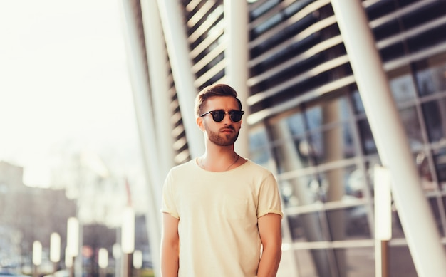Man wearing white blank t-shirt