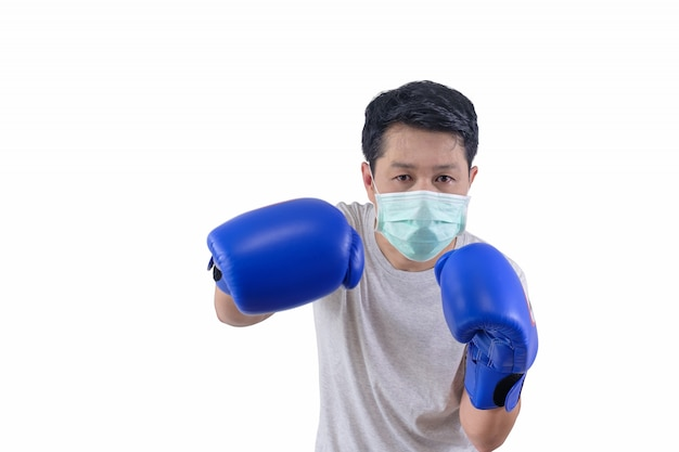 Man wears mask when he is boxing