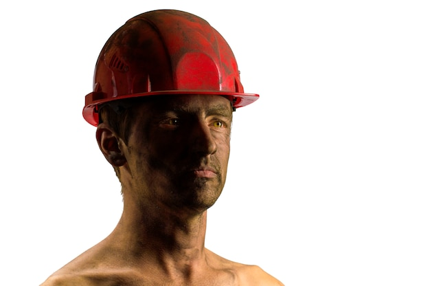 Man on white onhead hard hat face in dust