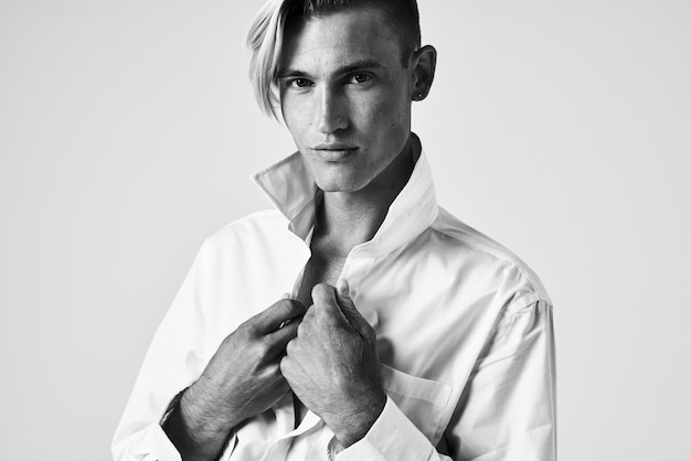 Man in white shirt fashion hairstyle portrait studio lifestyle