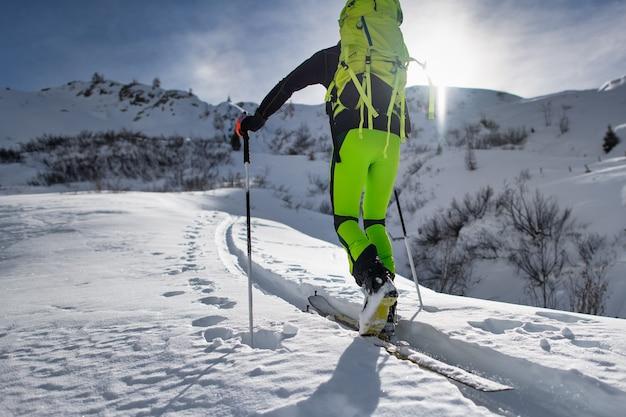 Man in wintertime skiing