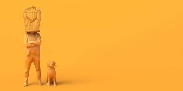 Человек с клеткой вместо головы с птицей внутри рядом с его собакой 3d иллюстрации копирование пространства