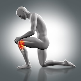Man with a knee in the floor and pain in the other knee