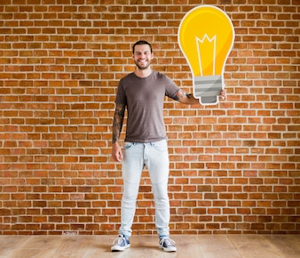 Man with a light bulb icon
