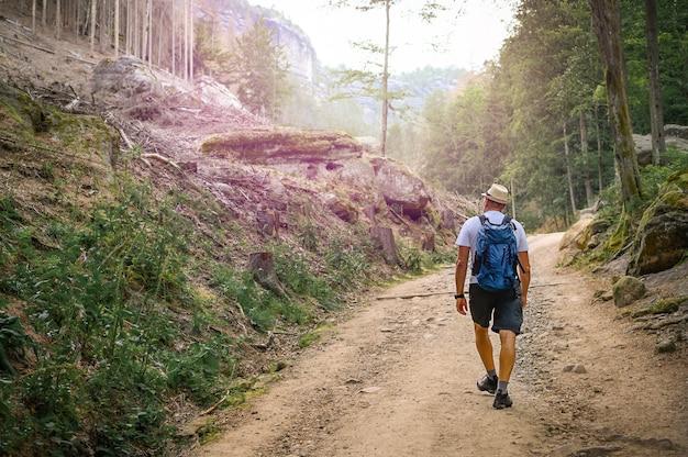バックパックを持った男が美しい自然の中で石の小道を歩いています