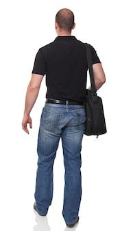 Человек с видом сзади мешок, изолированные на белом