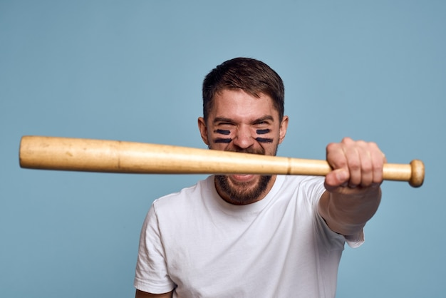 Man with a baseball bat in his hand