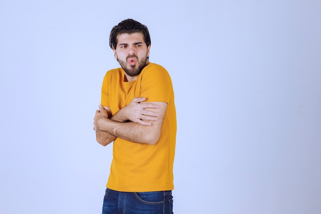 Man with beard feeling cold weather
