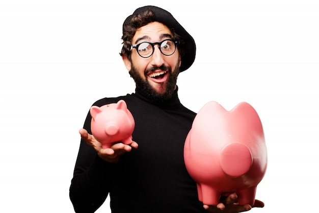 Man with a big piggy bank pig and other small