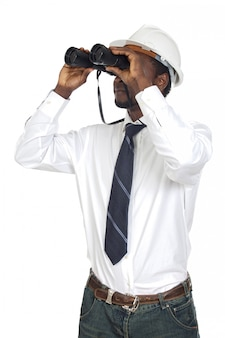 Man with binoculars isolated over white background
