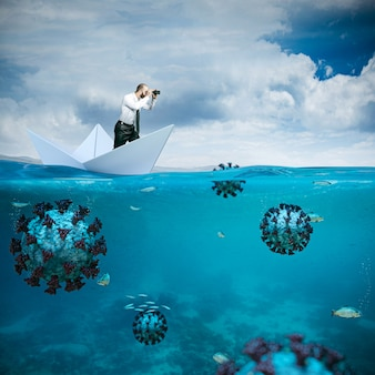 Человек с биноклем на бумажном кораблике. covid вирус, скрытый под водой. концепция опасности для здоровья. неуверенность