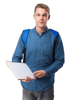 Man with a blank notebook