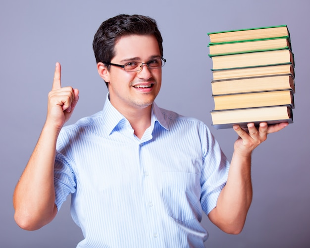Man with books.