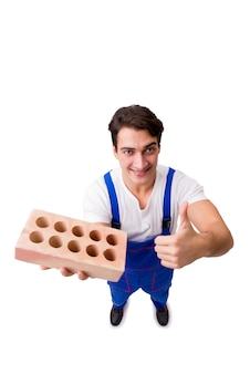 Man with brick isolated