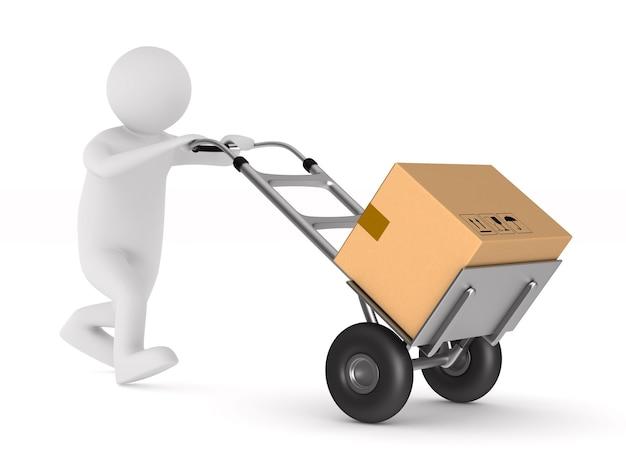 Человек с грузовым ящиком на спине. изолированная 3-я иллюстрация