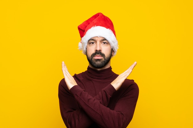 Man with christmas hat making no gesture