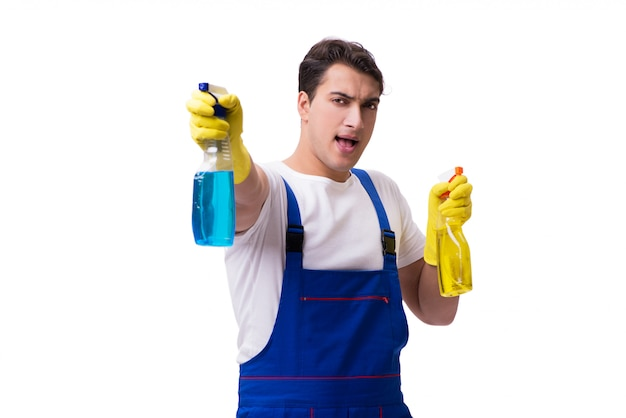 Man with cleaning agents isolated on white