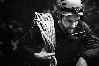 Man with climbing rope
