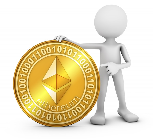 A man with a coin of the ethereum
