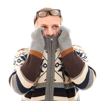 Man with cold and glasses