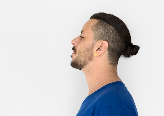 Man with cool hairstyles is in a studio shoot