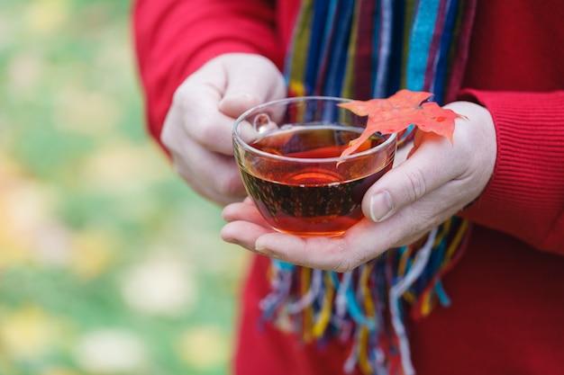 カエデの葉のある秋の公園でお茶散歩のカップを持つ男