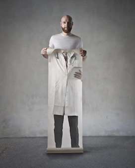 Man with a doctor's dress