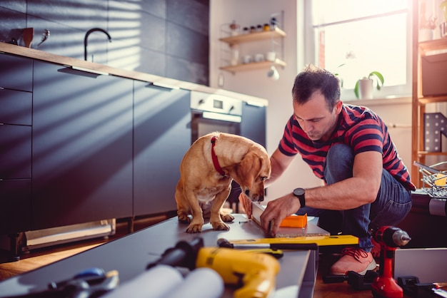 Man with dog building kitchen cabinets