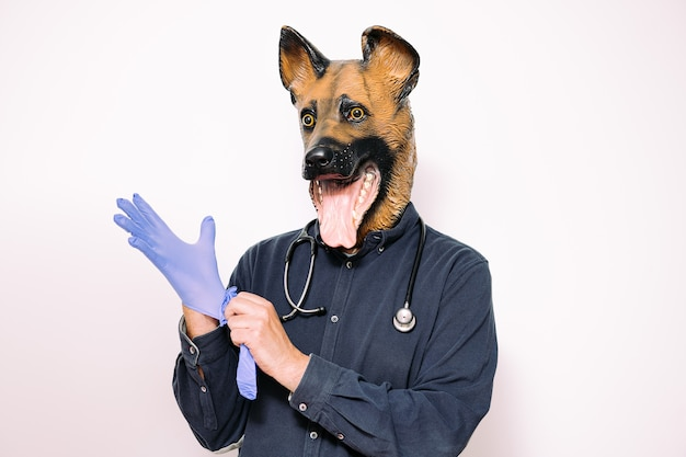 Man with dog mask and a stethoscope wearing gloves