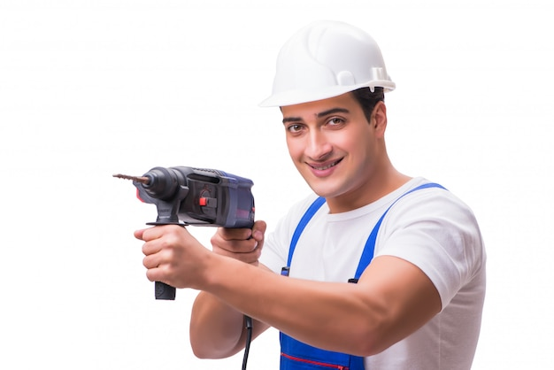Man with drill isolated on the white