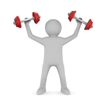 Man with dumbbells isolated on white.3d illustration