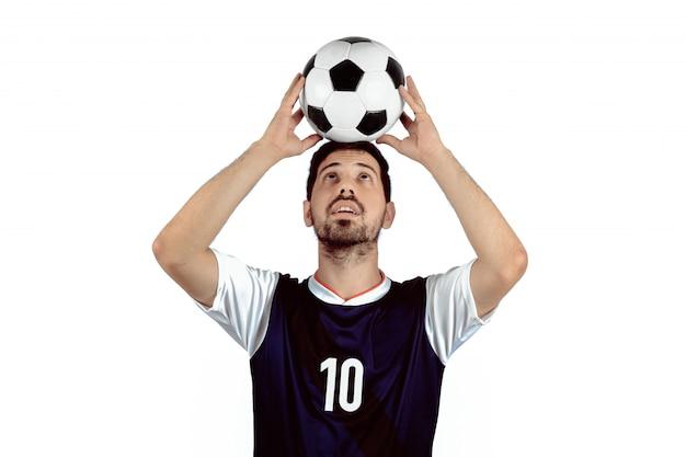Man with football ball.