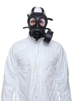 Man with gas mask isolated on white