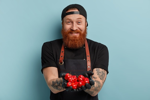 Man with ginger beard wearing apron and gloves holding tomatoes