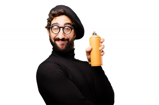 Man with glasses to see and beret with a spray bottle