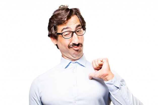Man with glasses and tongue out