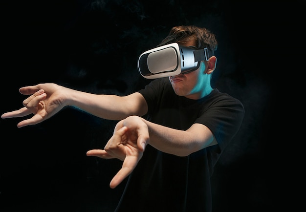 The man with glasses of virtual reality.