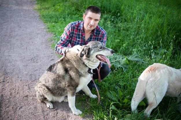 緑の芝生の近くに灰色の犬と近くに軽い犬を持つ男。