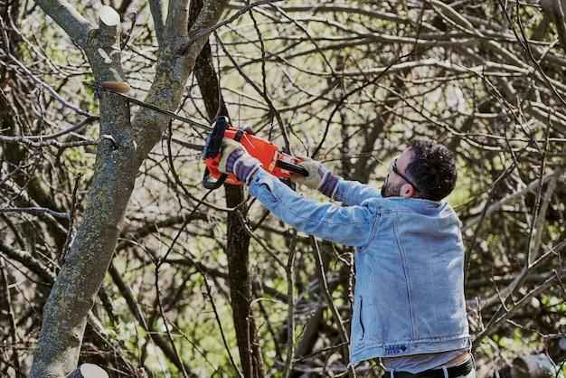 Мужчина, повернувшись спиной, срубает дерево бензопилой.