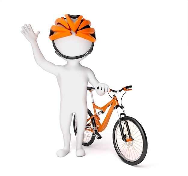 彼の自転車を持つ男