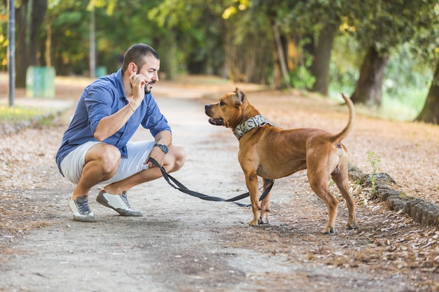 Man with his dog at park