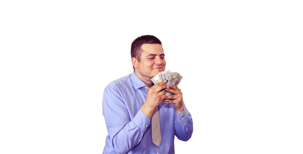 흰색 배경에 고립 된 그의 급여를 가진 남자입니다. 회사원과 달러입니다. 최고 관리자의 행복한 얼굴입니다. 스마트 셔츠와 넥타이에 남자입니다.