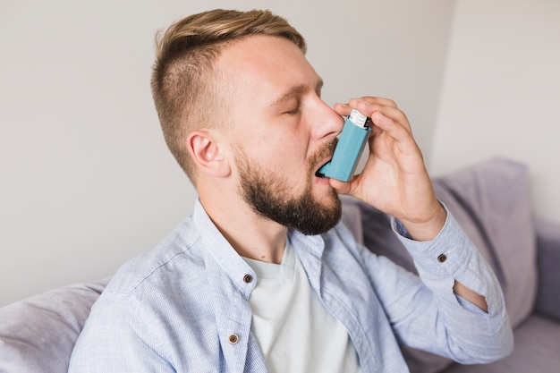 Man with inhaler