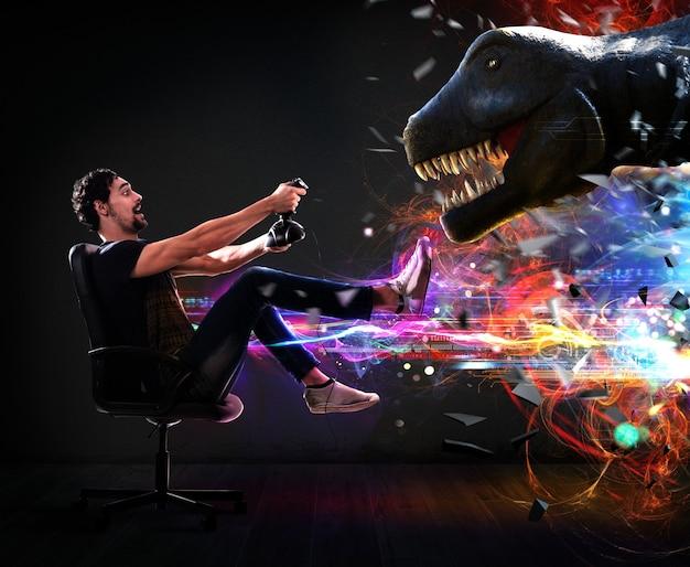 조이스틱을 가진 남자는 공룡의 비디오 게임을 가지고 노는