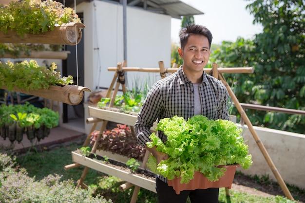 Человек с салатом на ферме