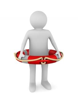 白の救命浮環を持つ男。分離された3dイラスト