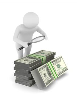 白の拡大鏡とお金を持つ男