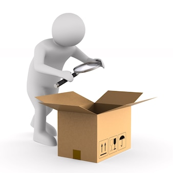 Man with magnifier and open box cargo. isolated, 3d rendering
